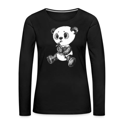 Panda bjørn hvid scribblesirii - Dame premium T-shirt med lange ærmer