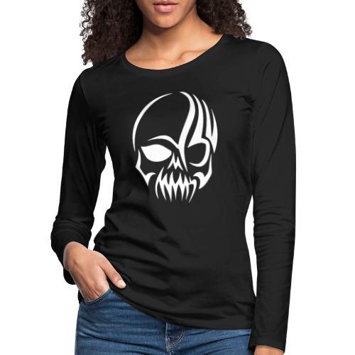 Tribal Skull white mit Logo - Frauen Premium Langarmshirt