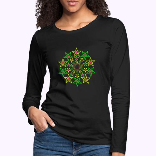 Fractal Star 3 -värinen neon - Naisten premium pitkähihainen t-paita