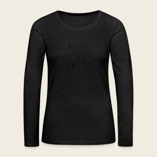 Flying birds - Dame premium T-shirt med lange ærmer