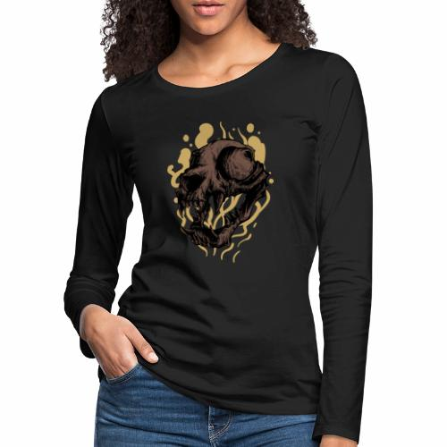 Cat Skull - Naisten premium pitkähihainen t-paita