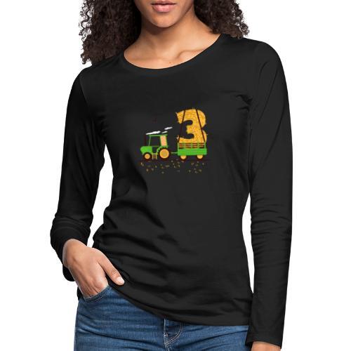Traktor mit Anhänger 3. Geburtstag Geschenk Drei - Frauen Premium Langarmshirt
