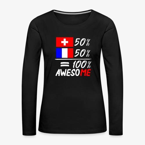 50% Schweiz 50% Frankreich - Frauen Premium Langarmshirt