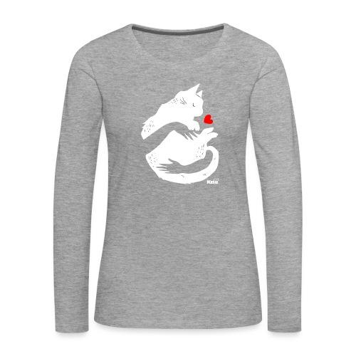 Halaus valkoinen - Naisten premium pitkähihainen t-paita