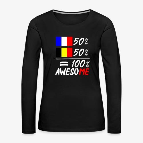 50% Frankreich 50% Belgien - Frauen Premium Langarmshirt