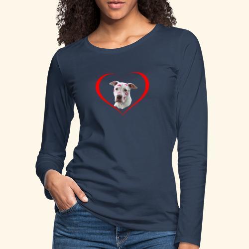 weisser Pit bull Herz Kuss - Frauen Premium Langarmshirt