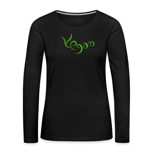 Vegaani käsinkirjoitettu design - Naisten premium pitkähihainen t-paita