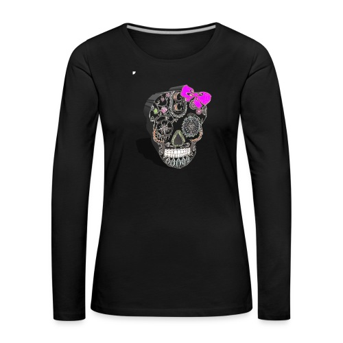 Tête de mort mexicaine 3D - T-shirt manches longues Premium Femme