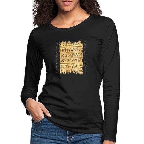 Ausgerissener Papyri mit Hieroglyphen - Frauen Premium Langarmshirt
