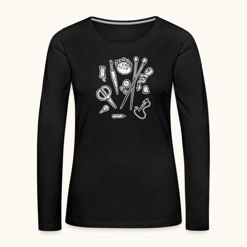 Handarbeiten lustiges Hobby Werkzeuge Geschenk - T-shirt manches longues Premium Femme