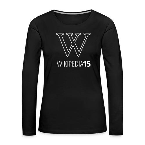 W, rak, svart - Långärmad premium-T-shirt dam