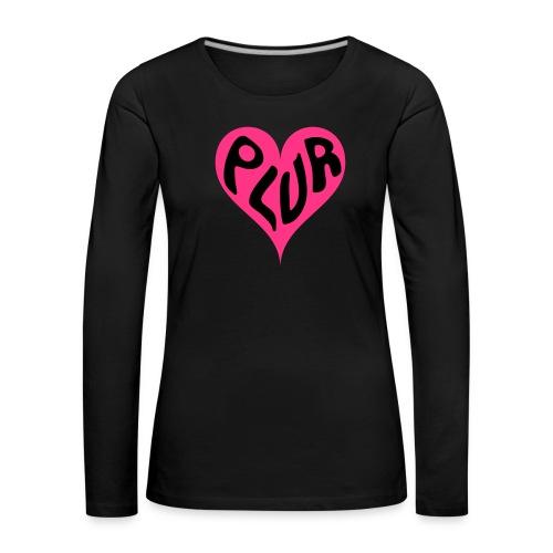 PLUR - Peace Love Unity and Respect love heart - Women's Premium Longsleeve Shirt