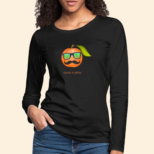 Lunette, moustache garde la pêche - T-shirt manches longues Premium Femme