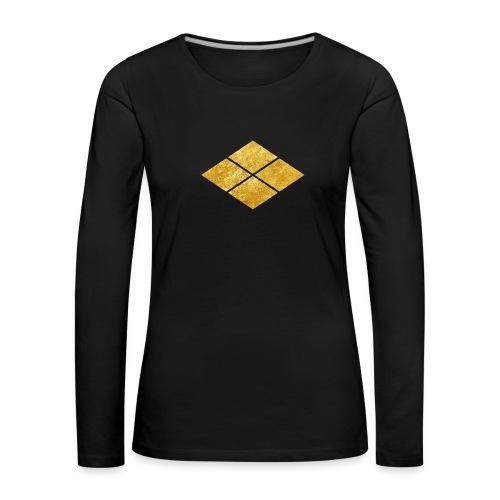Takeda kamon Japanese samurai clan faux gold - Women's Premium Longsleeve Shirt