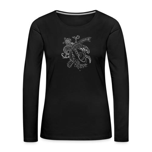 Fantasy hvid scribblesirii - Dame premium T-shirt med lange ærmer