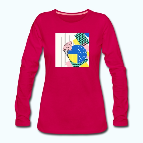 Retro Vintage Shapes Abstract - Women's Premium Longsleeve Shirt