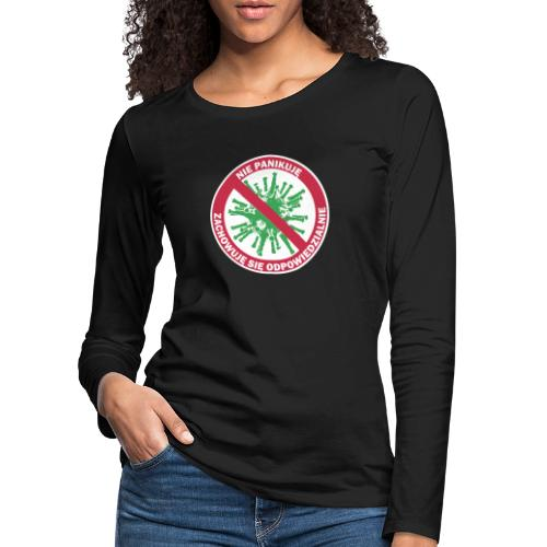 nie panikuje corona-virus - Koszulka damska Premium z długim rękawem