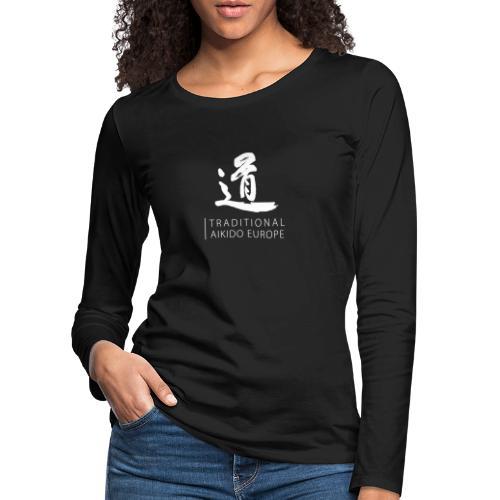 TAE logo white TRANSPARENT - Dame premium T-shirt med lange ærmer