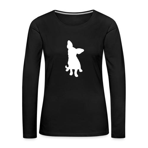 Chihuahua istuva valkoinen - Naisten premium pitkähihainen t-paita