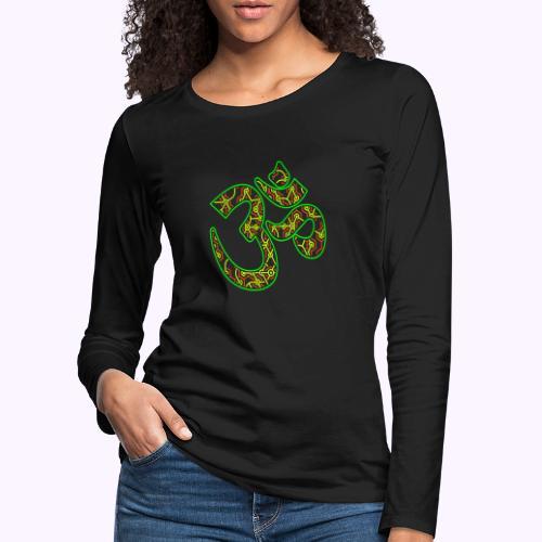 Fractal Om Neon - Naisten premium pitkähihainen t-paita