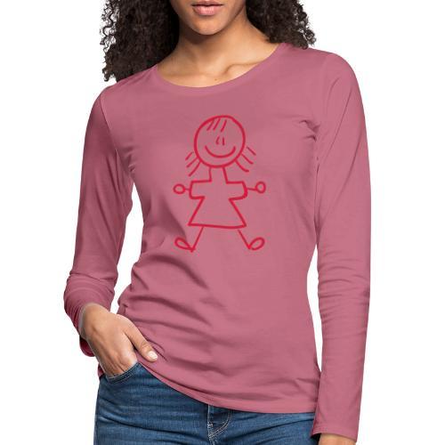 Kid Line Drawing Pixellamb - Frauen Premium Langarmshirt
