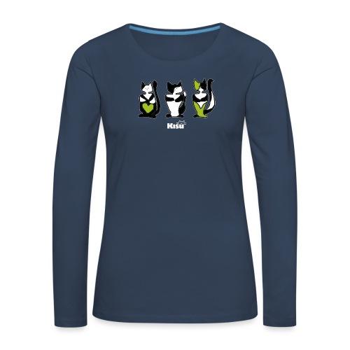 vihreä rivi mustalle - Naisten premium pitkähihainen t-paita