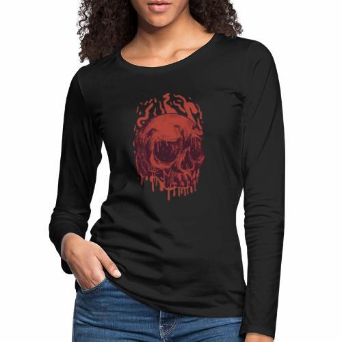 Bloody Skull - Naisten premium pitkähihainen t-paita