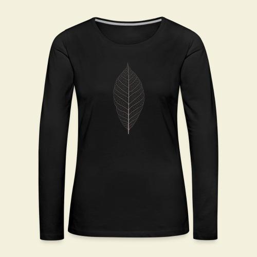 Feuille marron Squelette - T-shirt manches longues Premium Femme