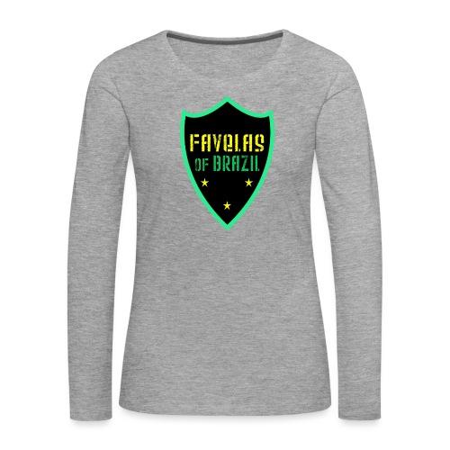 FAVELAS OF BRAZIL NOIR VERT DESIGN - T-shirt manches longues Premium Femme