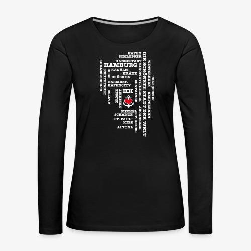 Hamburg Begriffe / Herz auf Anker / Text weiss - Frauen Premium Langarmshirt