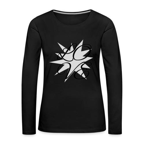 Schriftzug LOVE-grau - Frauen Premium Langarmshirt