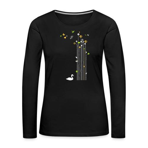 Frühling Schwan Blüten Schmetterlinge Valentinstag - Women's Premium Longsleeve Shirt