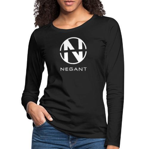 White Negant logo - Dame premium T-shirt med lange ærmer