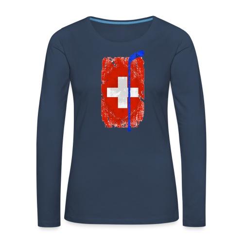 Schweizer Flagge Hockey - Frauen Premium Langarmshirt