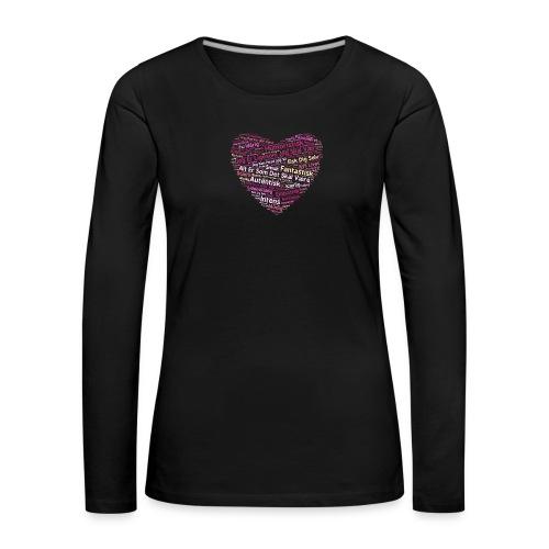 Hjerte - Dame premium T-shirt med lange ærmer