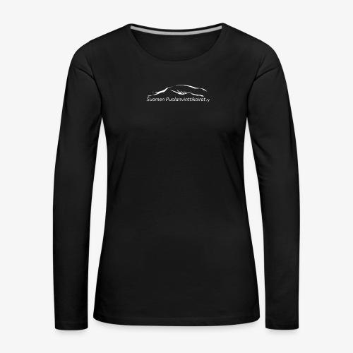 SUP logo valkea - Naisten premium pitkähihainen t-paita
