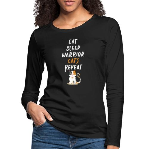 Eat sleep warrior cats repeat - T-shirt manches longues Premium Femme