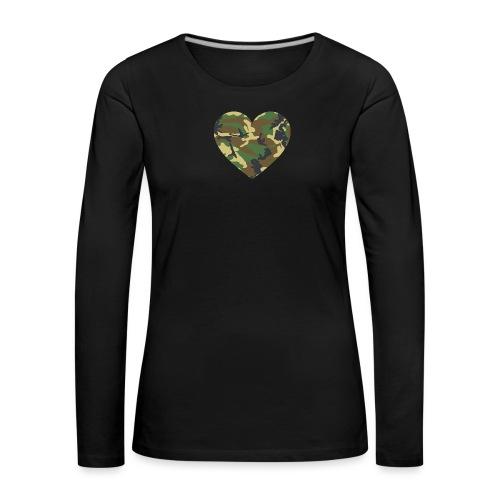 Camo Heart - Frauen Premium Langarmshirt