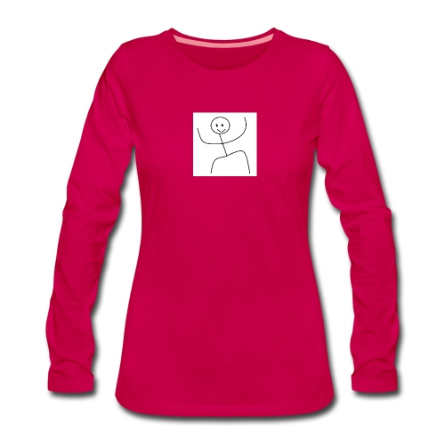 lady t-shirt stick man - Dame premium T-shirt med lange ærmer