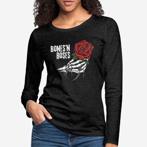 Schädelknochen Rosen - Frauen Premium Langarmshirt