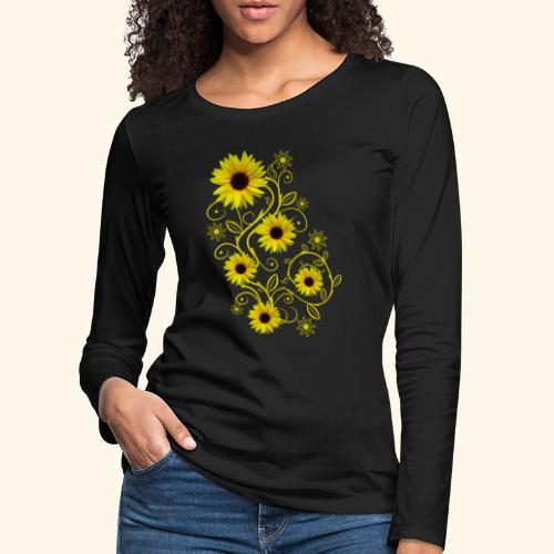 gelbe Sonnenblumen, Ornamente, Sonnenblume, Blumen - Frauen Premium Langarmshirt