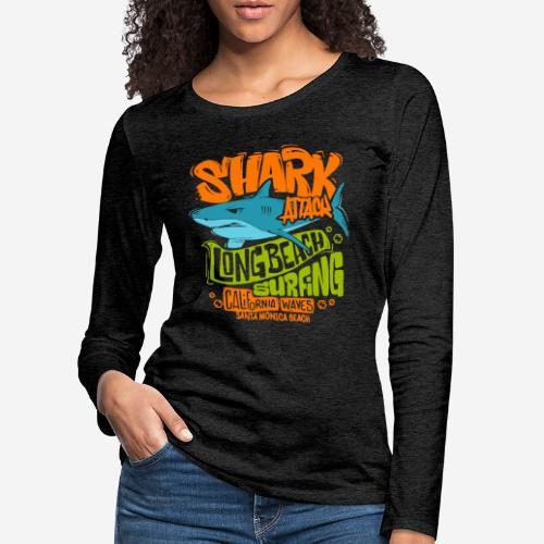 shark surf surfing california - Frauen Premium Langarmshirt