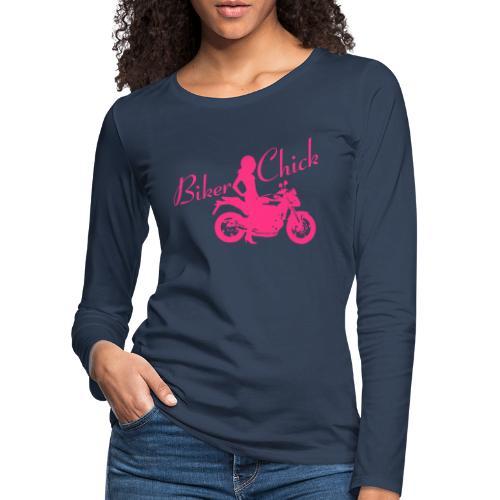 Biker Chick - Naked bike - Naisten premium pitkähihainen t-paita