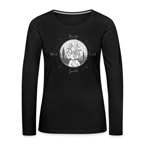 compass01 - Vrouwen Premium shirt met lange mouwen