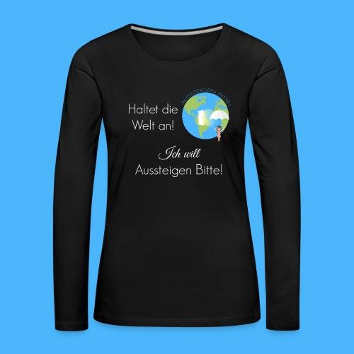 Logo Spruch weiß - Frauen Premium Langarmshirt