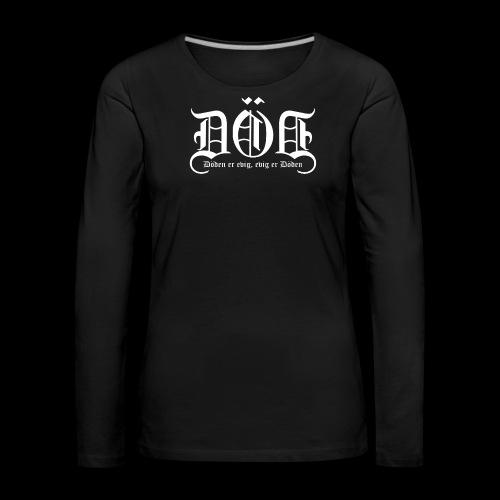 DOD LOGO Kvit skrift png - Premium langermet T-skjorte for kvinner