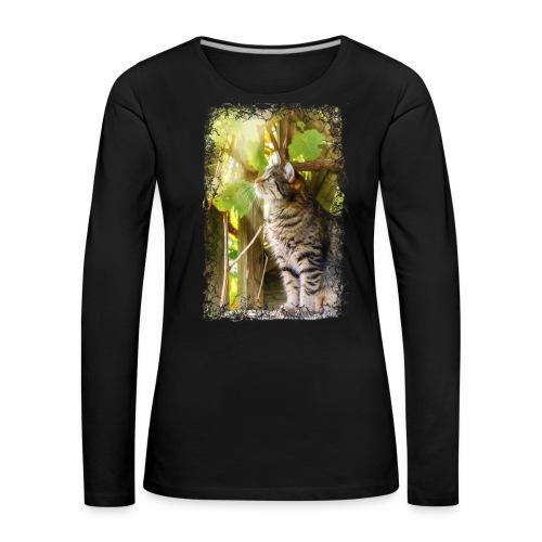 Katze im Wein - Frauen Premium Langarmshirt