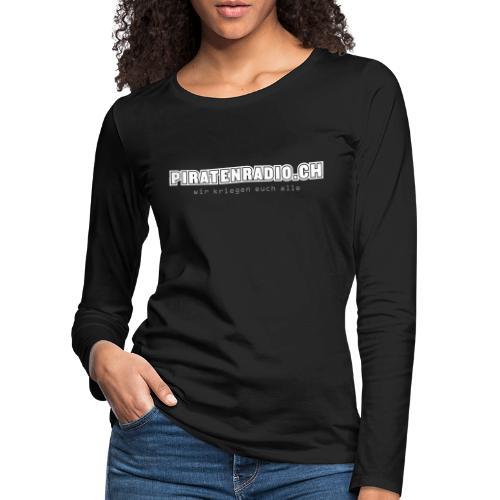 logo piratenradio claim 25cm neg - Frauen Premium Langarmshirt