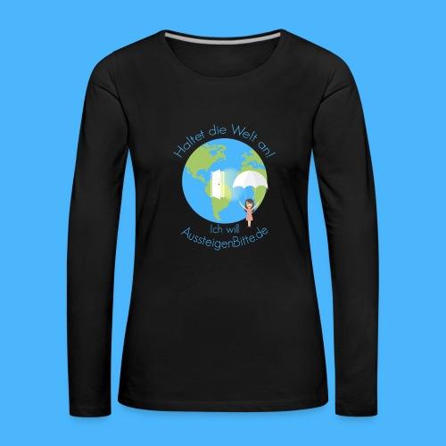 Aussteigen Bitte Logo Shirt png - Frauen Premium Langarmshirt