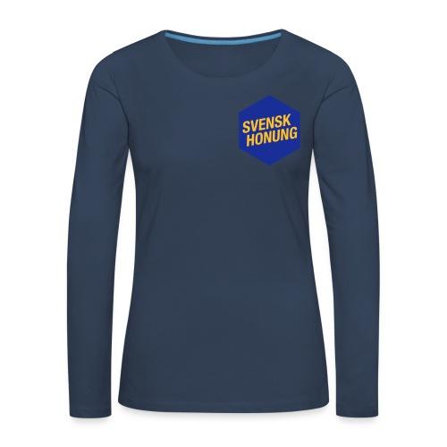 Svensk honung Hexagon Blå/Gul - Långärmad premium-T-shirt dam